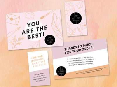 Gifted Type Creative Shop Branding collateral icons business card branding brand identity