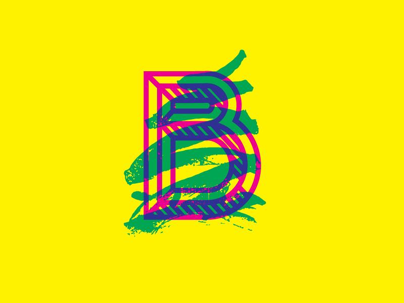 B yellow cyan magenta scribble b typography lettering