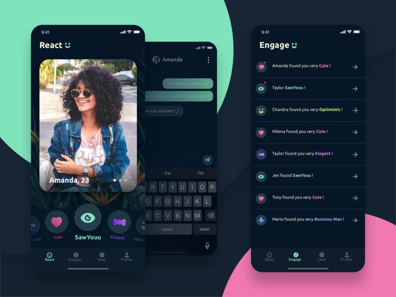 SawYouu App emotions dating social bright colors app dark ui ui design