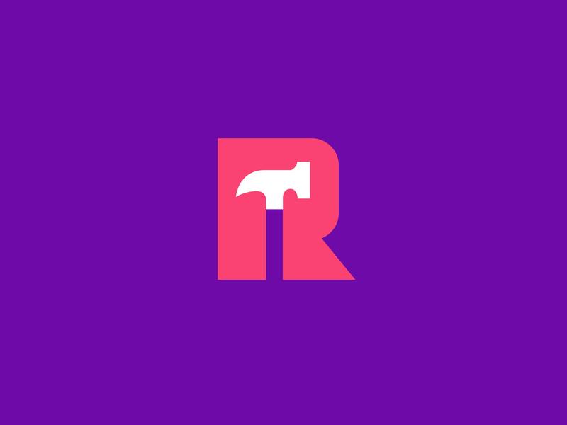Hammer / Letter R  (Behance Project) letter r construction hammer letter design geometric logodesign modern logo