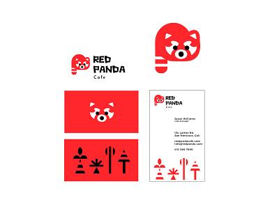 Red Panda cafe cafe coffee panda red animal branding bold geometric logodesign modern logo