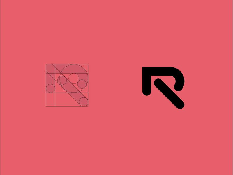 R concept letter technology bold geometric logodesign modern logo