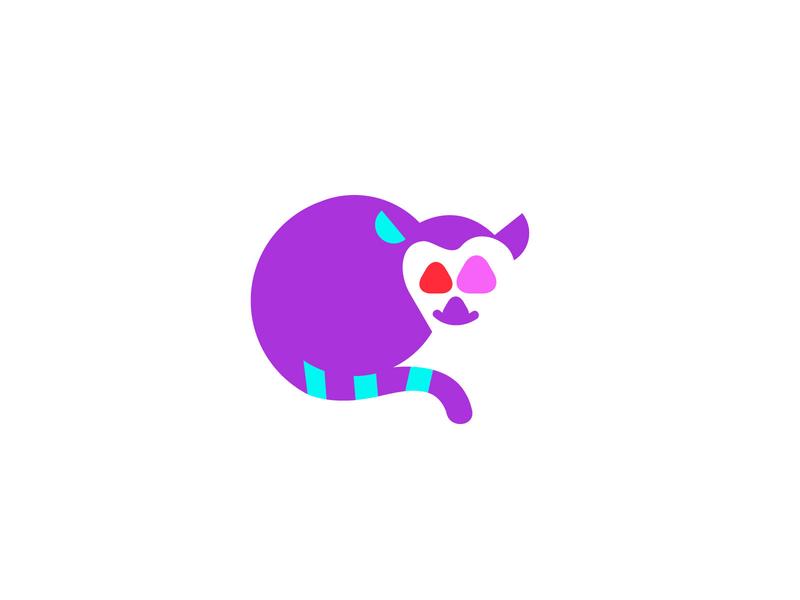 Lemur monkey monkey animal geometric logodesign modern logo