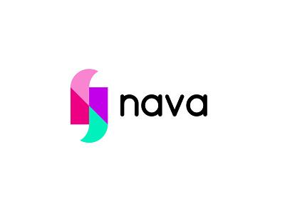 nava travel n letter simple design bold geometric logodesign modern logo
