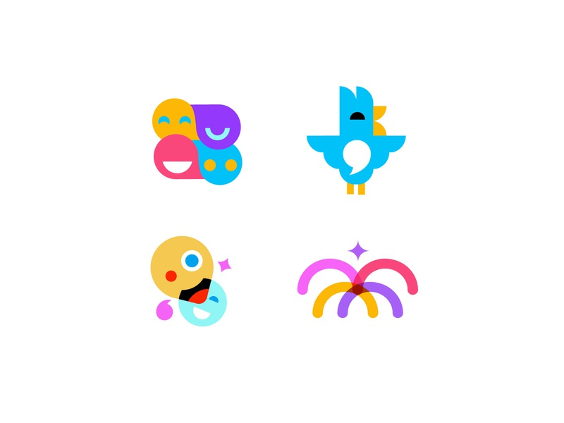 Sparkz concepts bird chat social apps games fun geometric logodesign modern logo