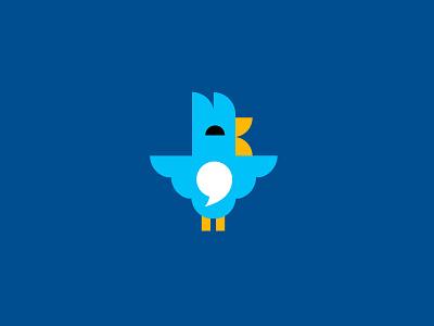 Bird/chat social app chat bird animal bold geometric logodesign modern logo