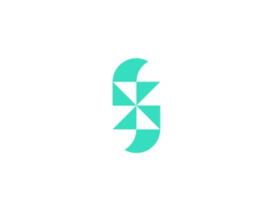 Abstract concept 2 flat bold geometric logodesign modern logo