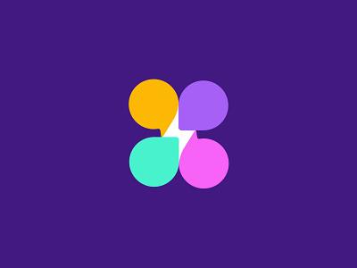 Chat/spark bubble social spark chat design simple geometric logodesign modern logo