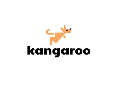 kangaroo kangaroo bold animal geometric logodesign modern logo