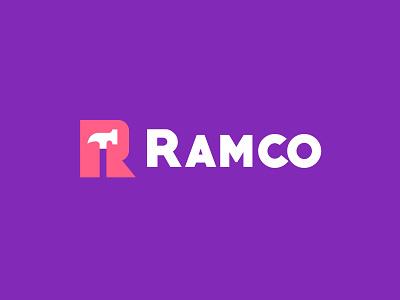 Ramco construction hammer letter design geometric logodesign modern logo