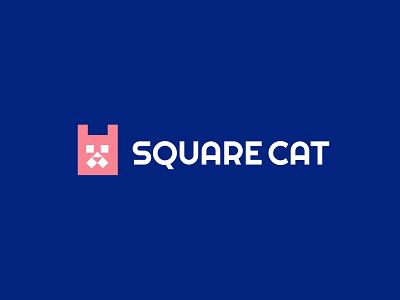 square cat games toy square cat branding animal design bold geometric logodesign modern logo