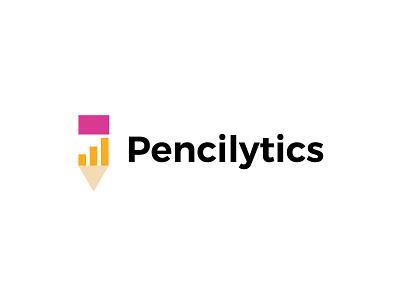 Pencilytics/Data data analytics pencil simple bold geometric logodesign modern logo