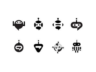 Robot / Chat concepts sports chat robot branding simple bold geometric logodesign modern logo