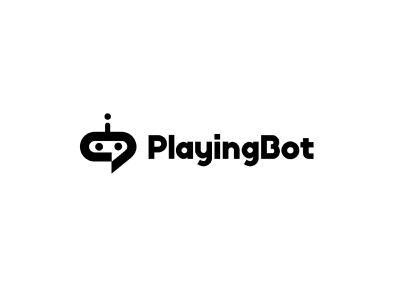 PlayingBot robot chat simple branding bold geometric logodesign modern logo