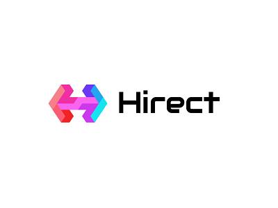Hirect colorful creative marketing staffing branding design bold geometric logodesign modern logo