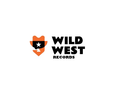 Wild West Records country music records cowboy branding bold geometric logodesign modern logo