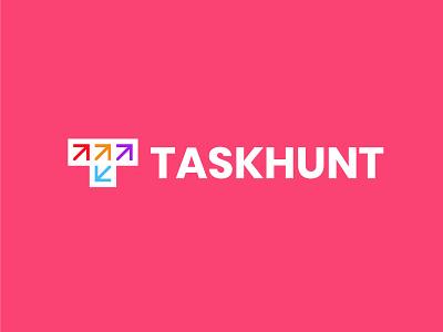 TaskHunt 2 letter t arrows branding bold design geometric logodesign modern logo