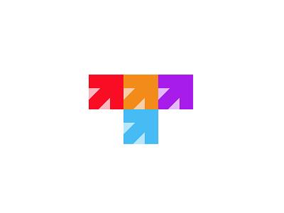 Letter T + arrows 2 arrows letter t branding bold geometric logodesign modern logo