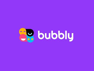 Bubbly app social branding chat simple design bold geometric logodesign modern logo