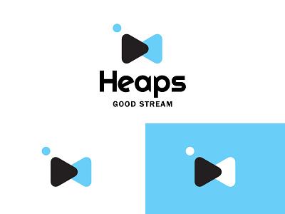 Heaps Good Stream play button bowtie live media branding bold geometric logodesign modern logo