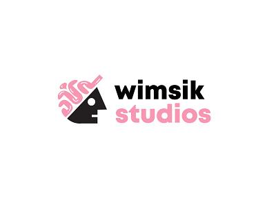 Wimsik Studios hat brain media advertising branding design bold geometric logodesign modern logo