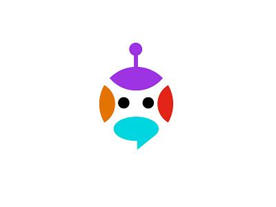 robot / chat robot chat branding simple design bold geometric logodesign modern logo