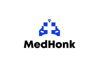 MedHonk sound wave medical mobile car branding bold geometric logodesign modern logo