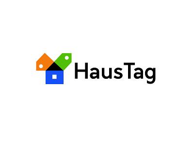 HausTag real estate tag price house branding simple bold geometric logodesign modern logo