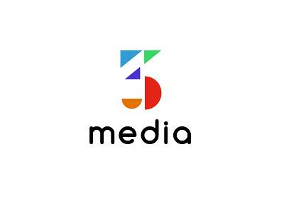 3 media entertainment media three simple design bold geometric logodesign modern logo