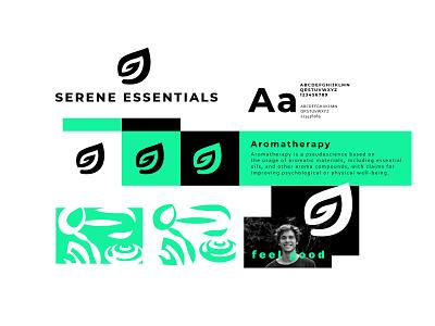 Serene Essentials leaf aroamtherapy branding bold geometric logodesign modern logo