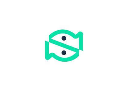 S + Fish technology letter s fish design bold geometric logodesign modern logo