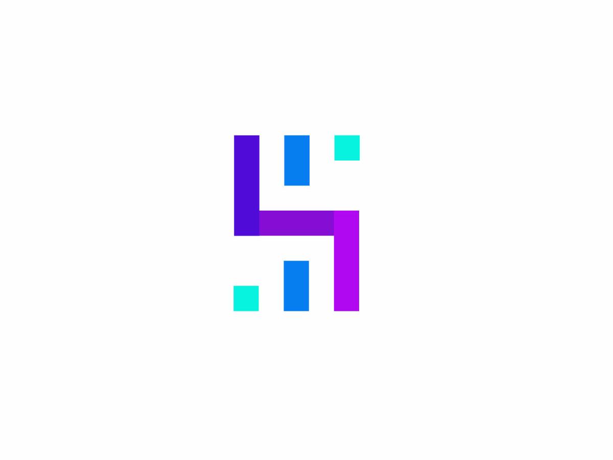 Smartleads consulting business statistics bar graph letter s vector letter simple technology geometric logodesign modern logo