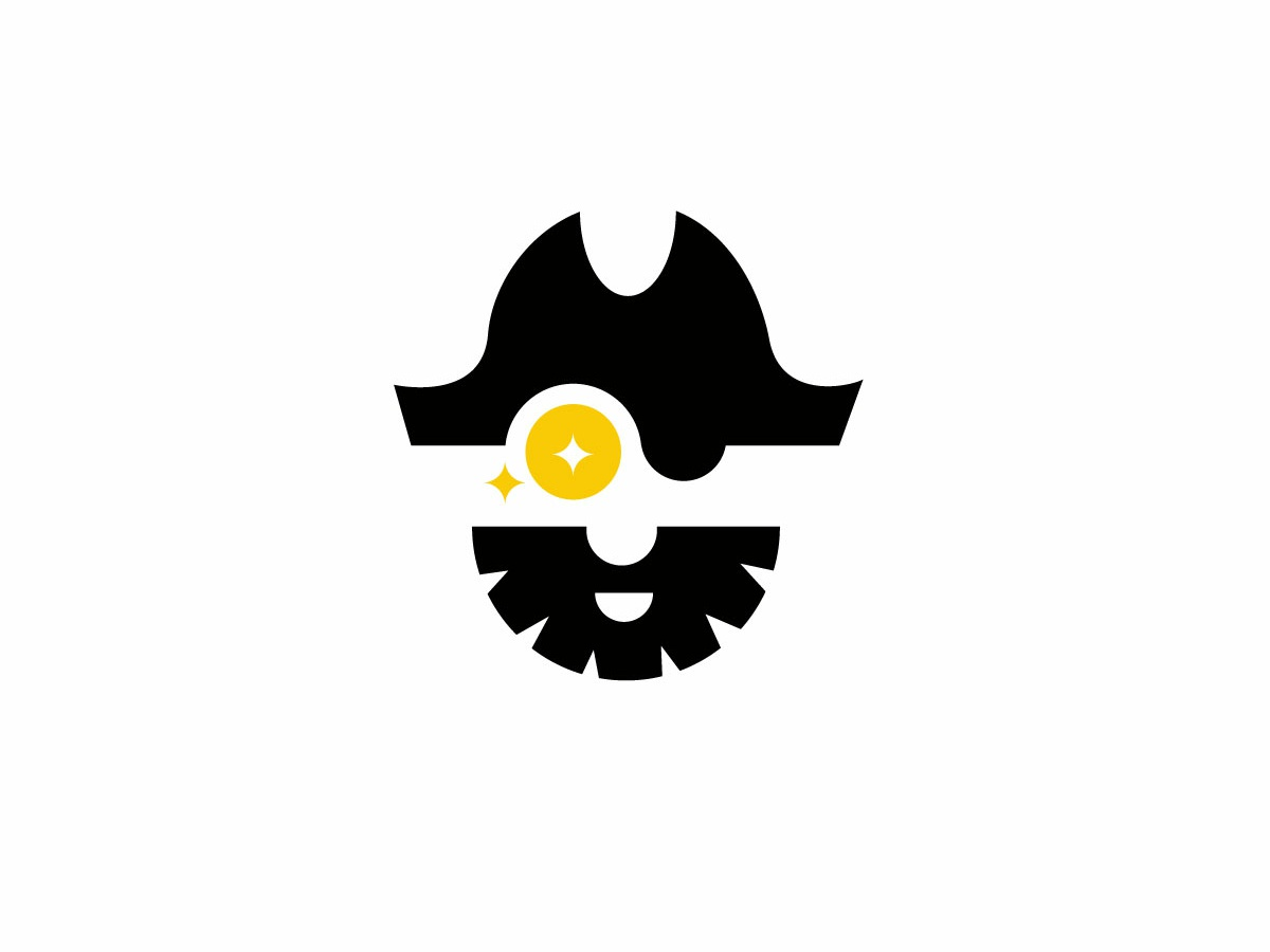 minimalist cryptocurrency pirate logo
