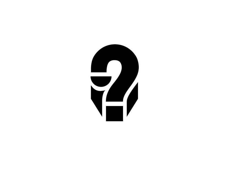 Mysterious Face / Question mark face man question design bold geometric logodesign modern logo
