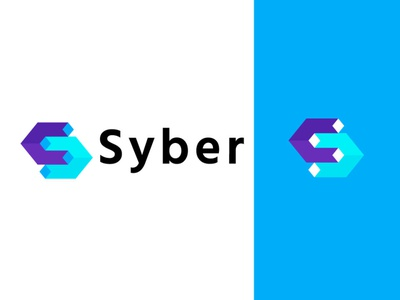 Syber security cybersecurity cyber technology simple design bold geometric logodesign modern logo
