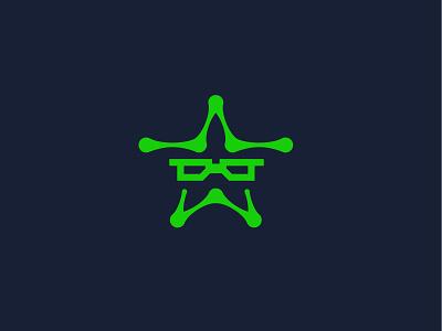 Nerd + Star website technology nerd star glasses simple geometric logodesign modern logo