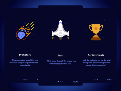 Onboarding screens for Polygon Crasher design mobile achievement cup comet meteorite ship space game screen onboarding
