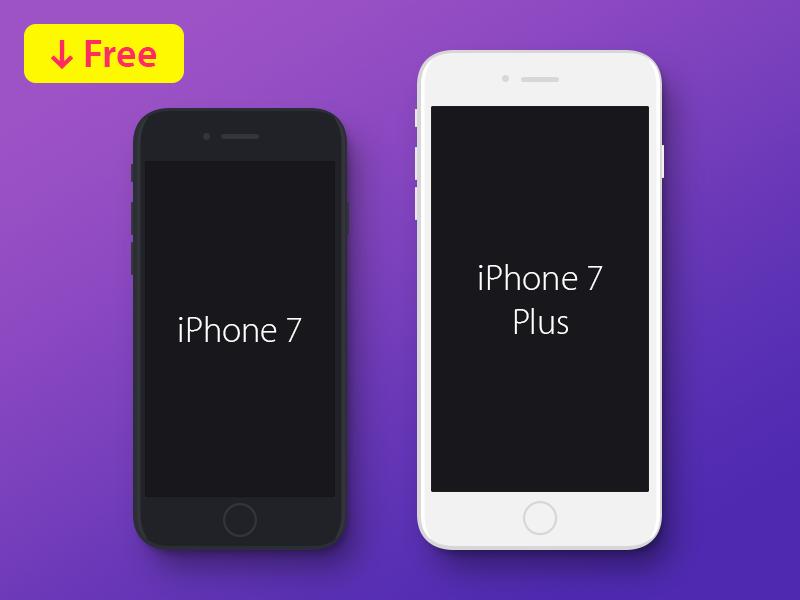 iPhone 7 & iPhone 7 Plus Flat Mockup Free vector ux ui mobile logo ios illustration graphiс flat design branding app