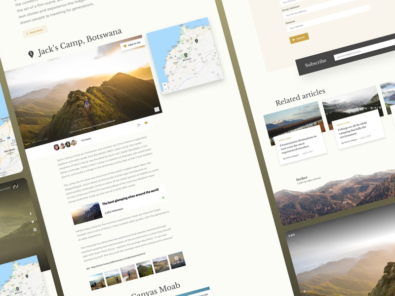 Seeker website graphiс design ui ux social places follow share map articles sky mountain travel