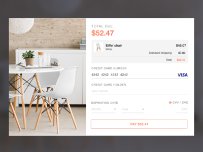 UI Challenge 002 pay furniture chair purchase payment checkout check-out credit card 002 daily ui