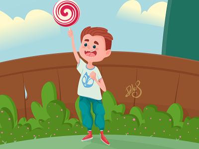 Lollipop boy smile candy garden green happy child vector illustration