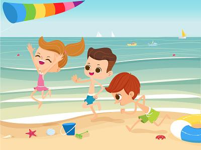 Running On The Beach vacation holiday tropical relax children fun play friends family sea running beach kids summer