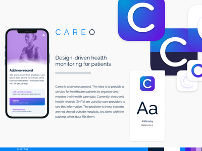 GU Capstone Project | Careo iOS Health layout interface product design component system library styleguide gradient mobile design ux ui capstone grad school georgetown