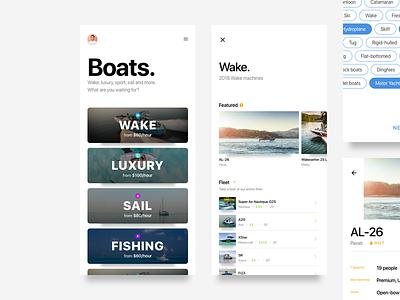 Boat membership cards wake sketch layout design ux ui mobile ios pricing membership boat