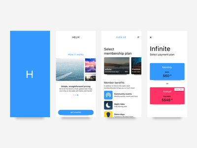 Helm: Uplabs challenge cards membership pricing boats ios mobile invision studio studio invision design challenge design uplabs