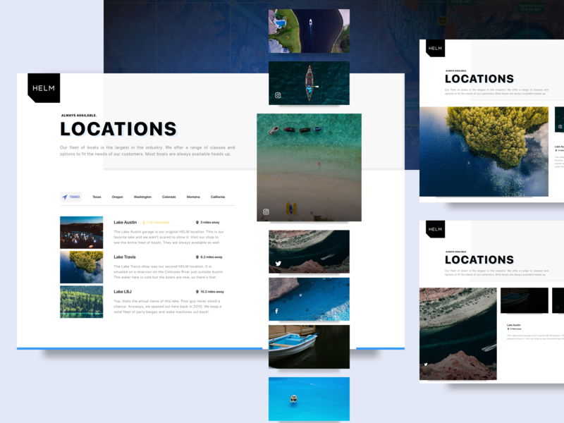 Boating locations sketch grid layout tabs invisionstudio boating carousel maps design web ux ui elements