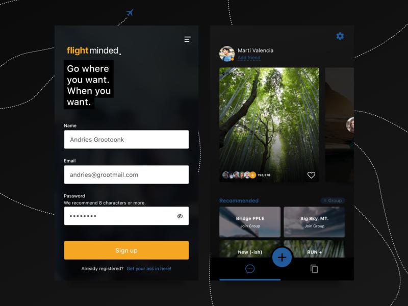 Flight booking | dark UI dashboard log in mobile avatar button password cards sketch layout interface ui ux inputs form ios flight