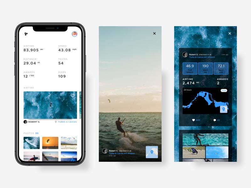 Kiteboarding app data value elements components gradient kiteboard layout design ux ui app ios mobile kiteboarding