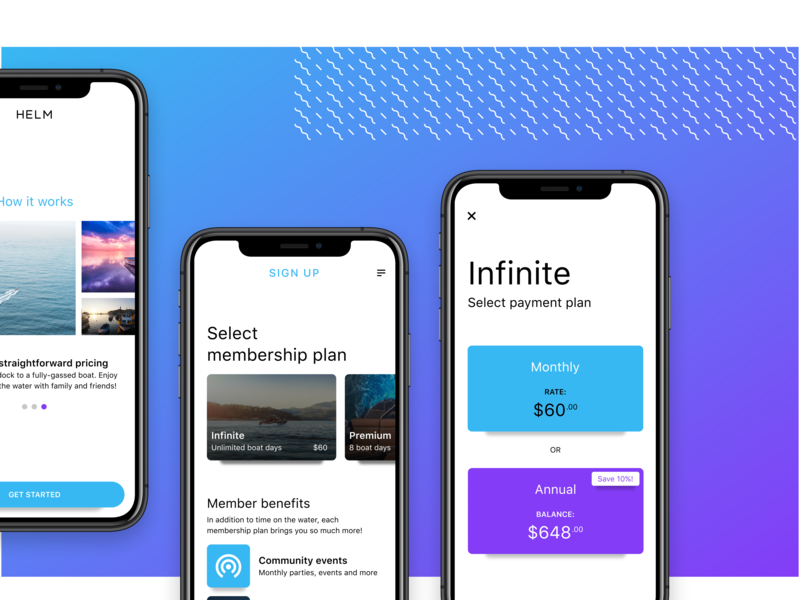 Boat membership ui elements carousel cards membership mobile ios design system elements template landing layout interaction interface design ux ui