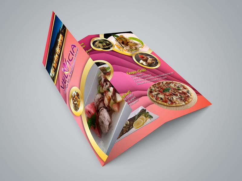 "Tri-Fold Brochure design ""Restaurant & Motel VELVICIA"" brochure layout brochure brochure design flyer flyer design branding design"